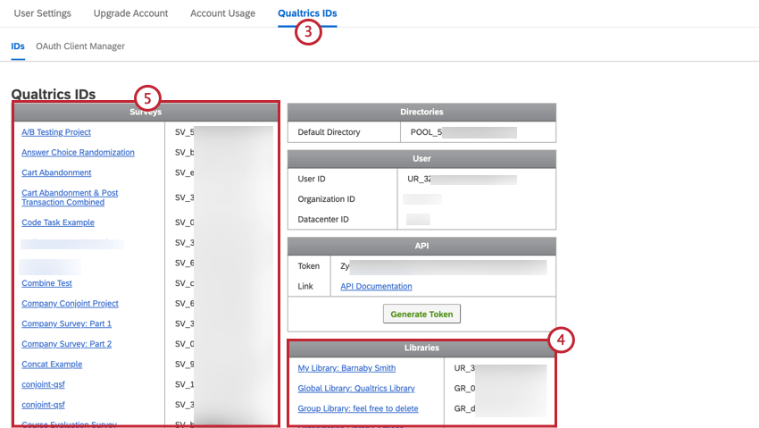 navigating to qualtrics ids and viewing the different ids