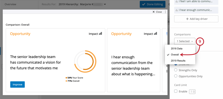 Focus areas widget has changed to match comparison selected on far-right of editing pane