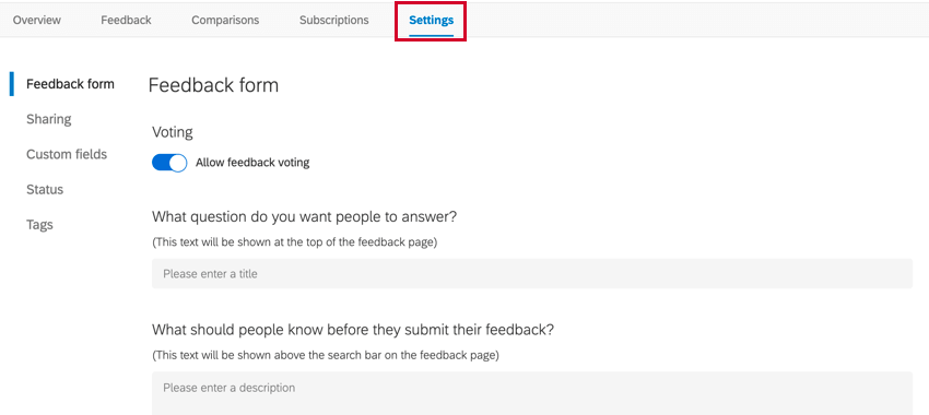 the settings tab of a frontline feedback project