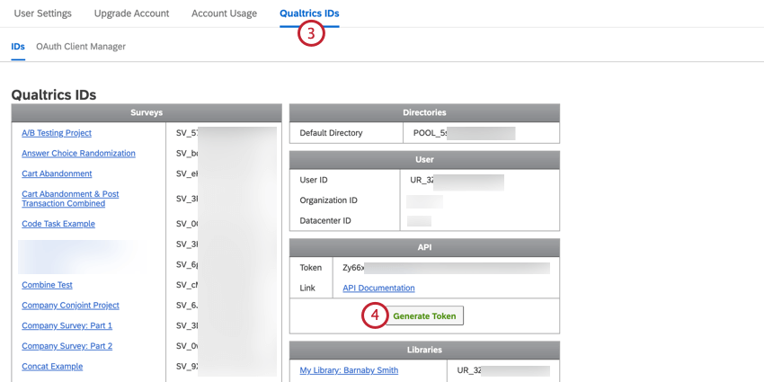 navigating to qualtrics ids and clicking generate token