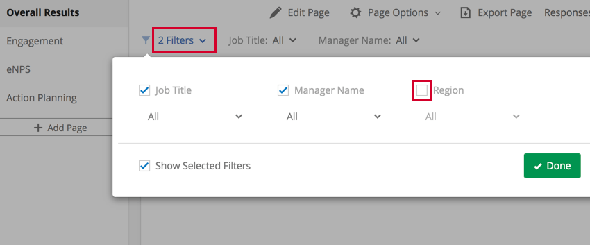 selecting the filters and disabling filters to hide them