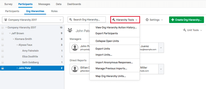 the hierarchy tools dropdown at the top of the org hierarchies tab