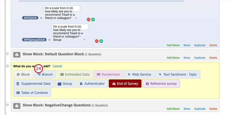 Adding a branch in the survey flow, below the default question block