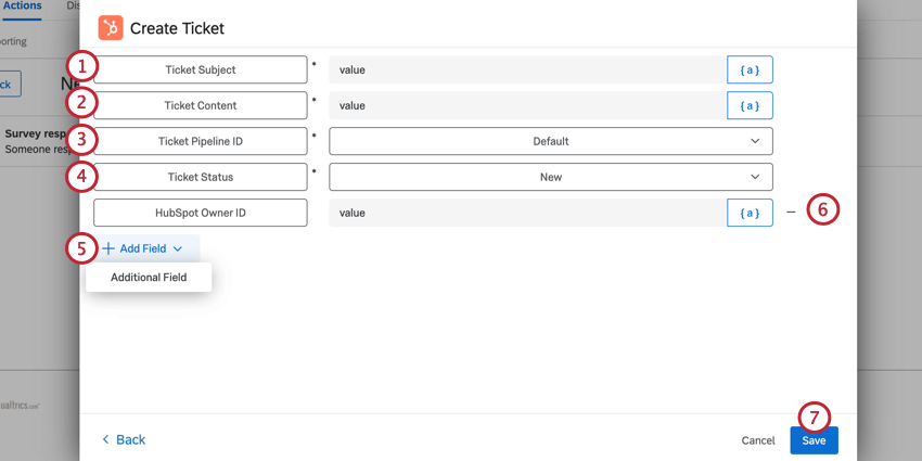 mapping values for the create ticket task