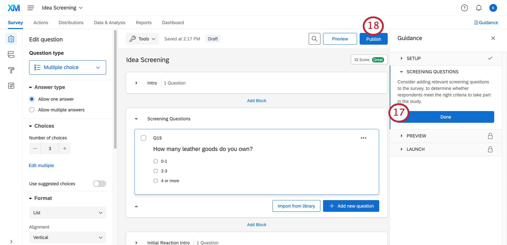 Publishing your survey