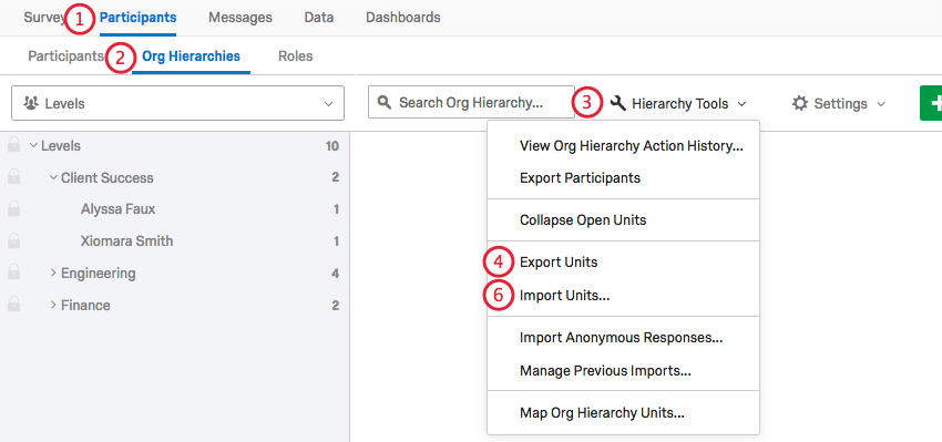 using the hierarchy tools menu to export and import units