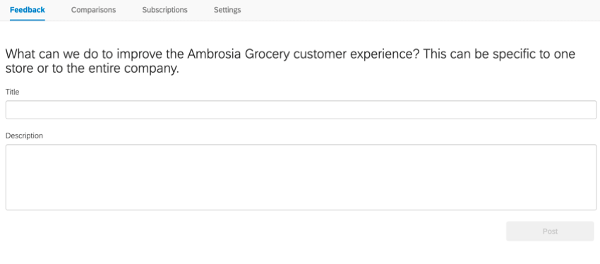 the feedback form for leaving feedback