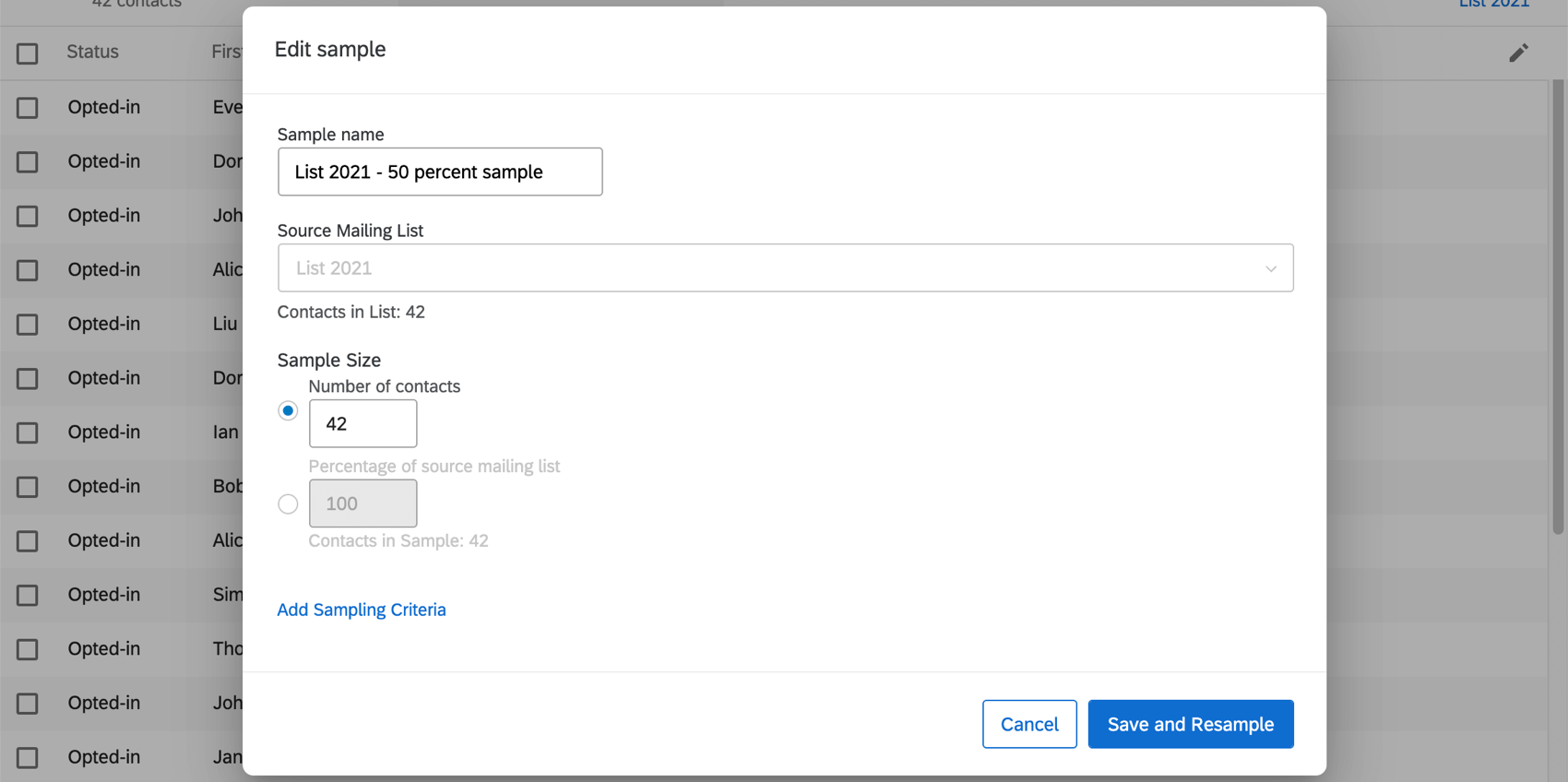 Edit sample window, which looks the same as the Create Sample window