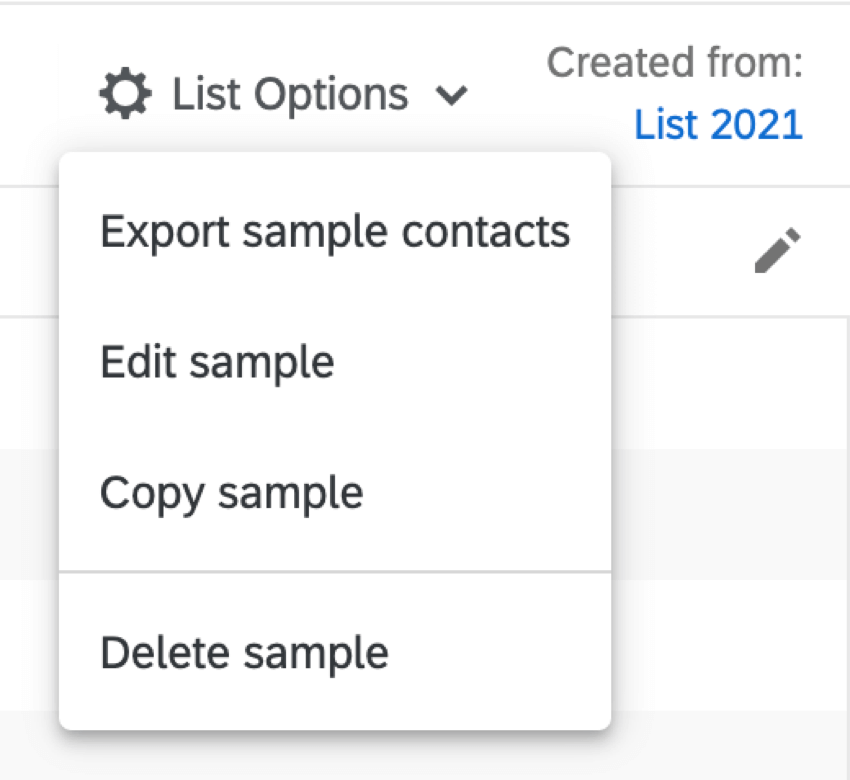 Image showing the available list options for a sample
