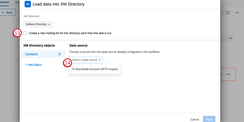 enabling the mailing list option, and selecting a data source
