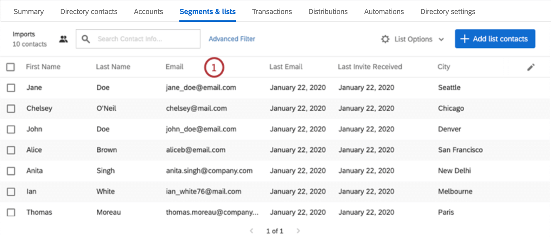 Column name, e.g., email