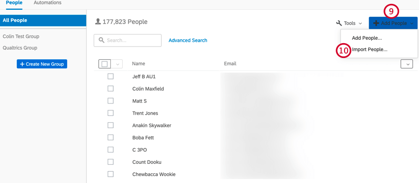 clicking add people then import people