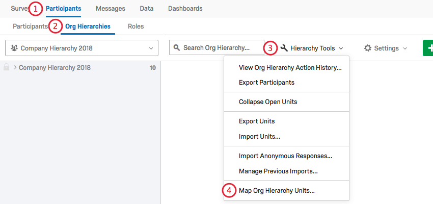 using the org hierarchy tools menu to select map org hierarchy units