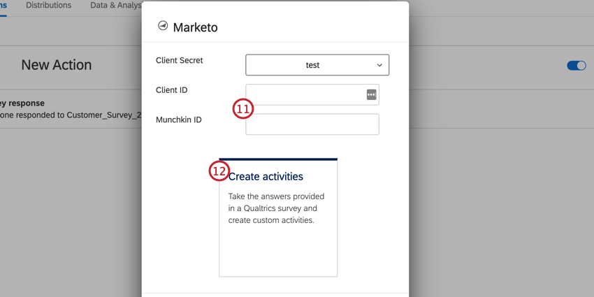 entering the client id and munchkin id then clicking create activities