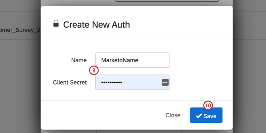 entering the name and client secret then clicking save