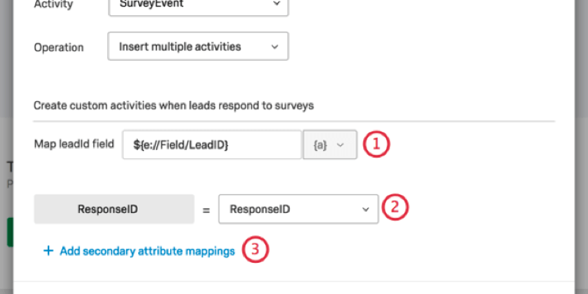mapping the leadid field and response id field then clicking add secondary attribute mappings