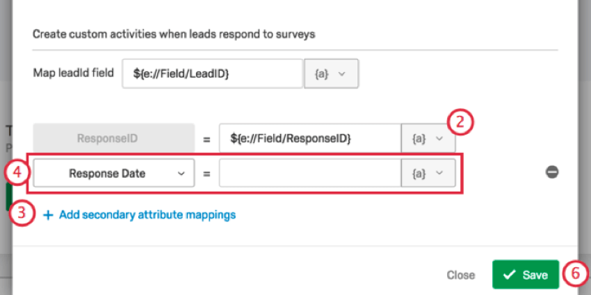 mapping the response id and response date fields