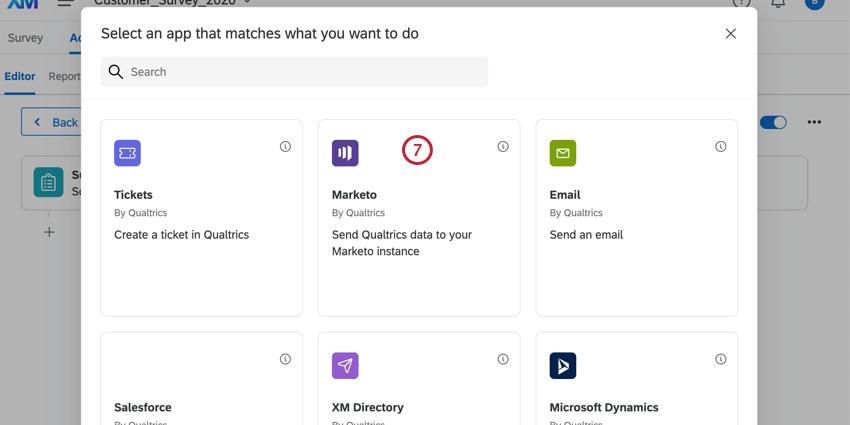 selecting the marketo task