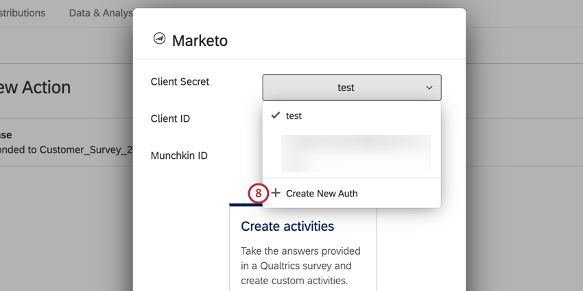 clicking create new auth