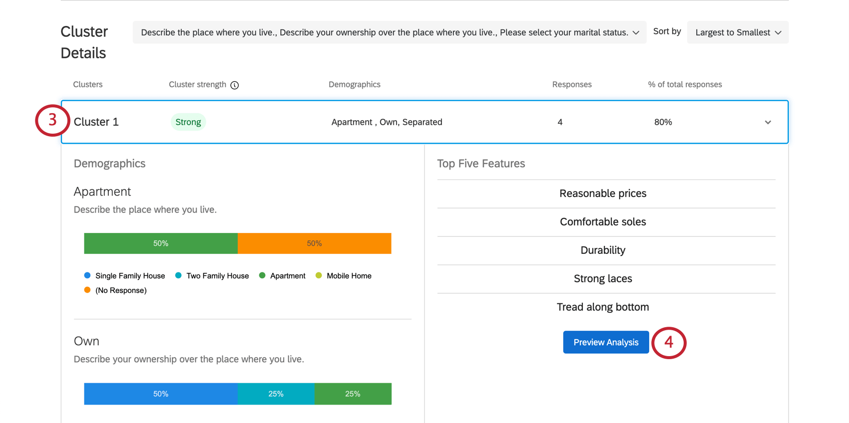 Preview analysis button inside a cluster