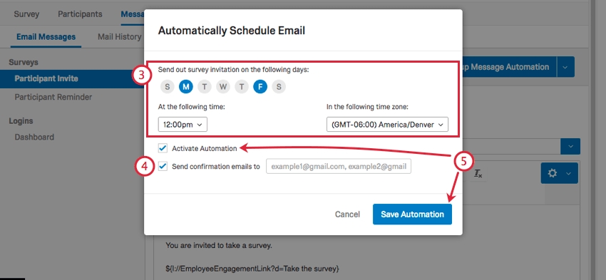 choosing when the automation should run, if an email should send, and then activating the automation