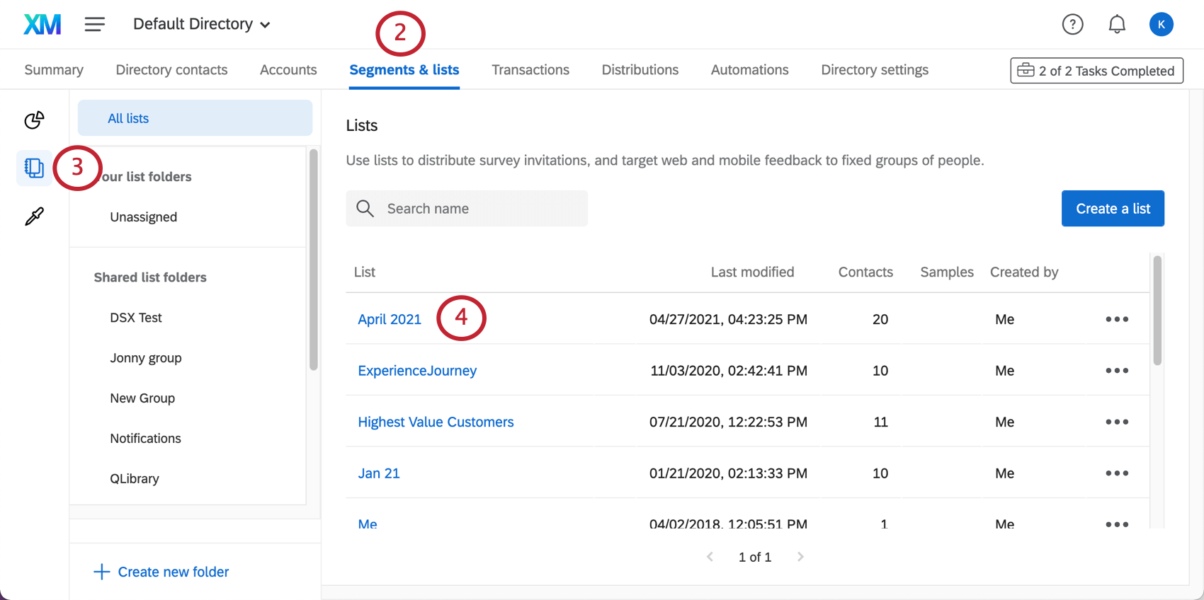 The lists section of the segments and lists tab is open