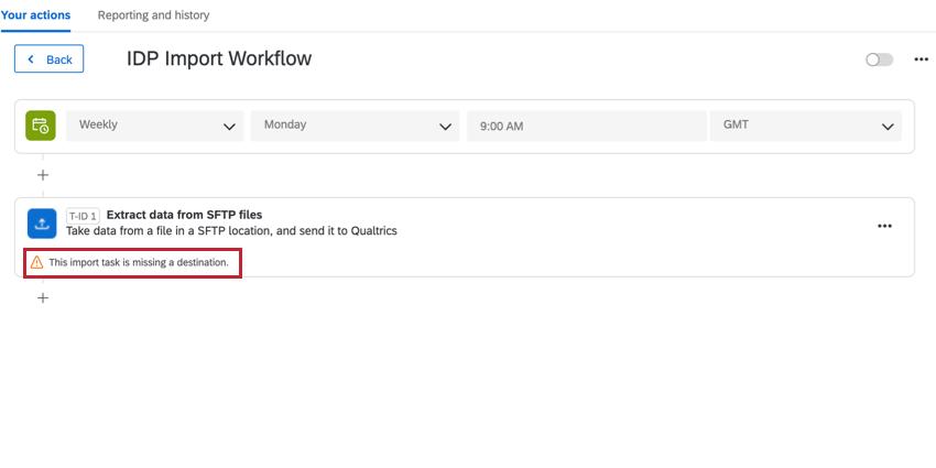 "the ""missing a destination"" error message"
