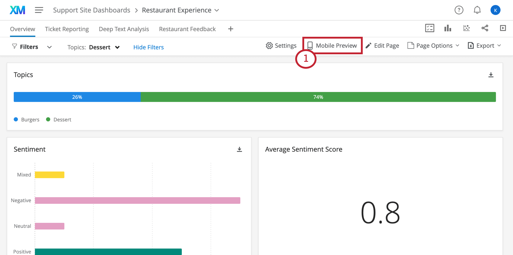 Mobile Preview button in a dashboard