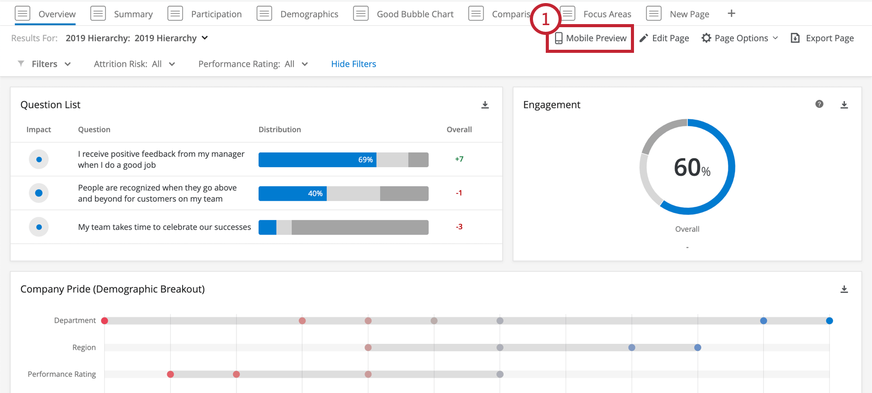 Mobile Preview button in an EX dashboard