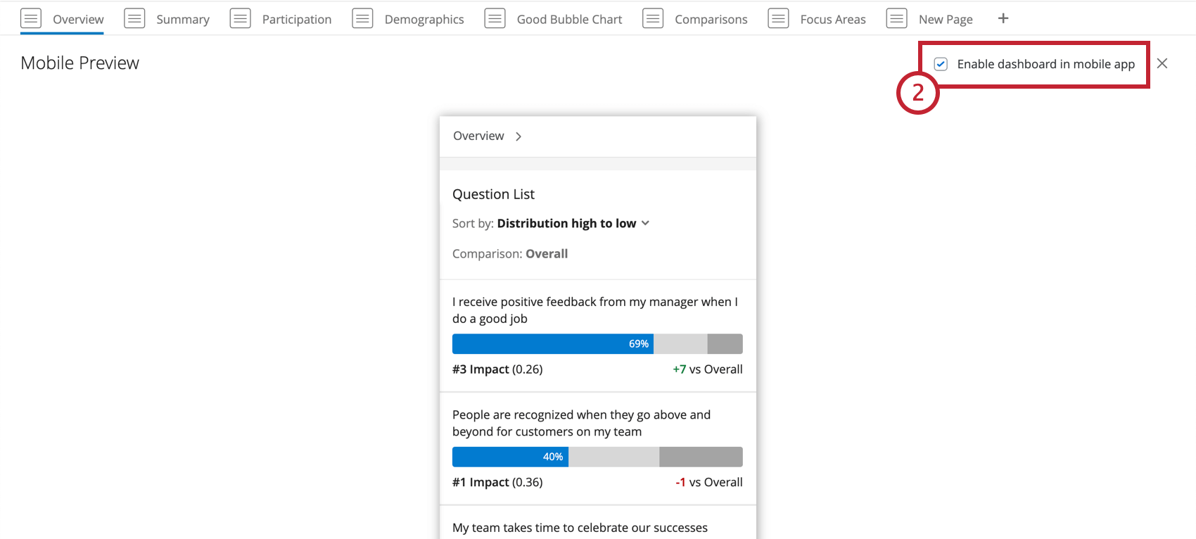 the Enable dashboard in mobile app setting