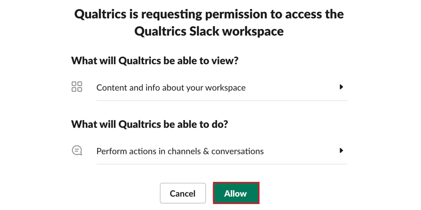 clicking allow to grant qualtrics access to slack