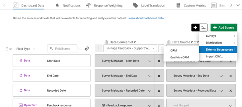 in dashboard data, adding a data source and mapping the orm data