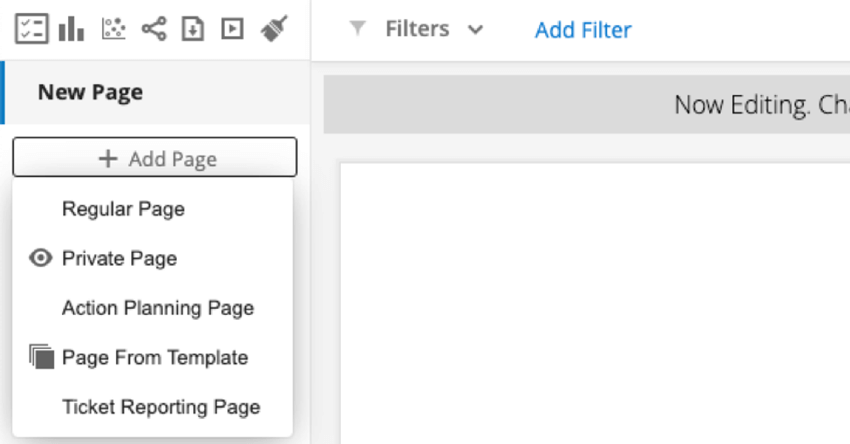 clicking add page and selecting page from template
