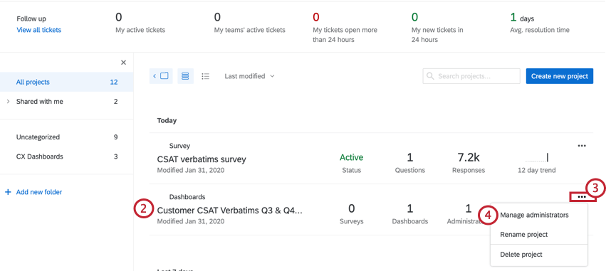image of the projects page with a cx dashboard project. The dropdown menu on the project is expanded and the Manage Administrators option is selected.