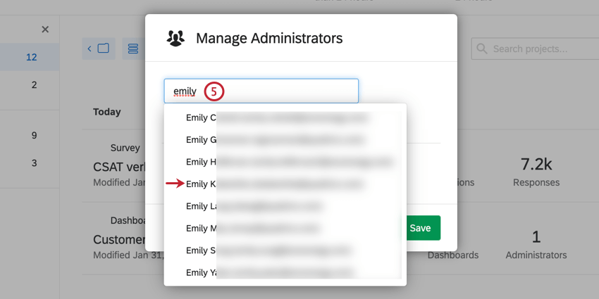 image of the manage administrators screen. search results are visible after typing a name in the search bar