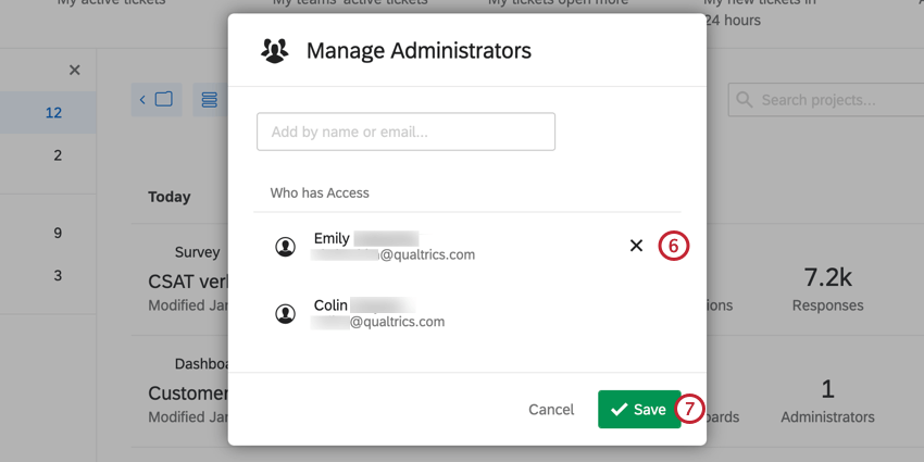 Image of the Manage Administrators screen. The X to the right of the listed admins is highlighted for removing admins.
