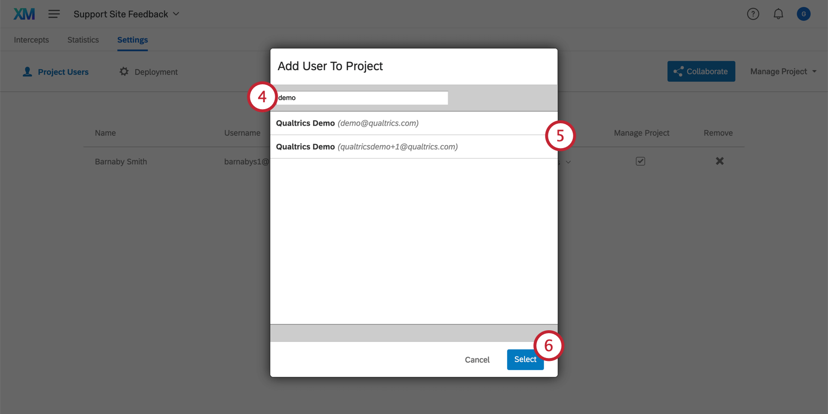 Adding a user to a project