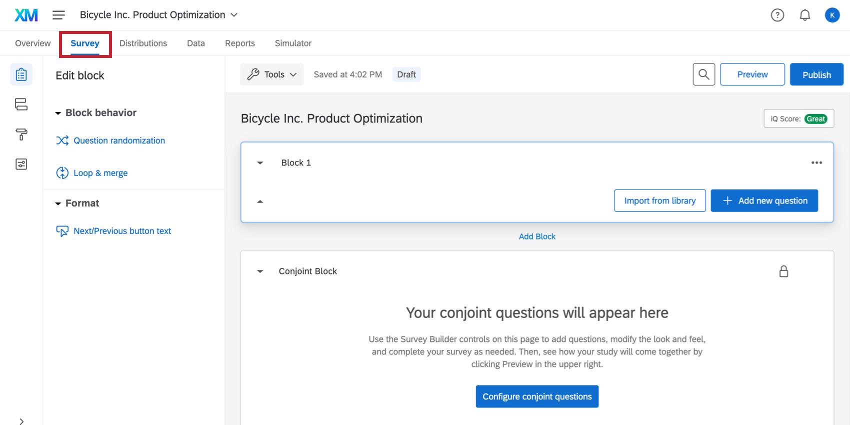 Survey tab selected upper-left