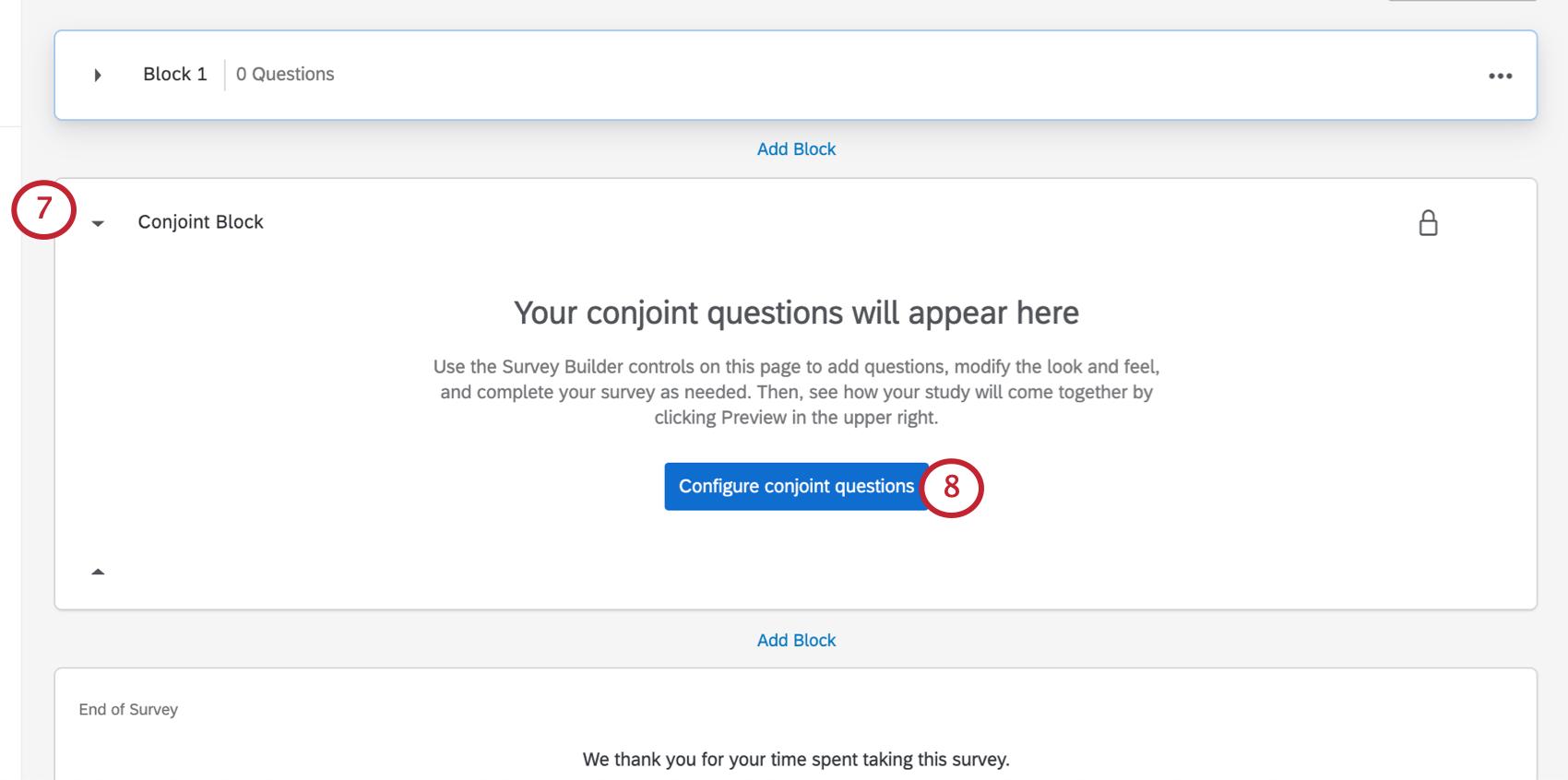 Blue Configure Conjoint Questions button