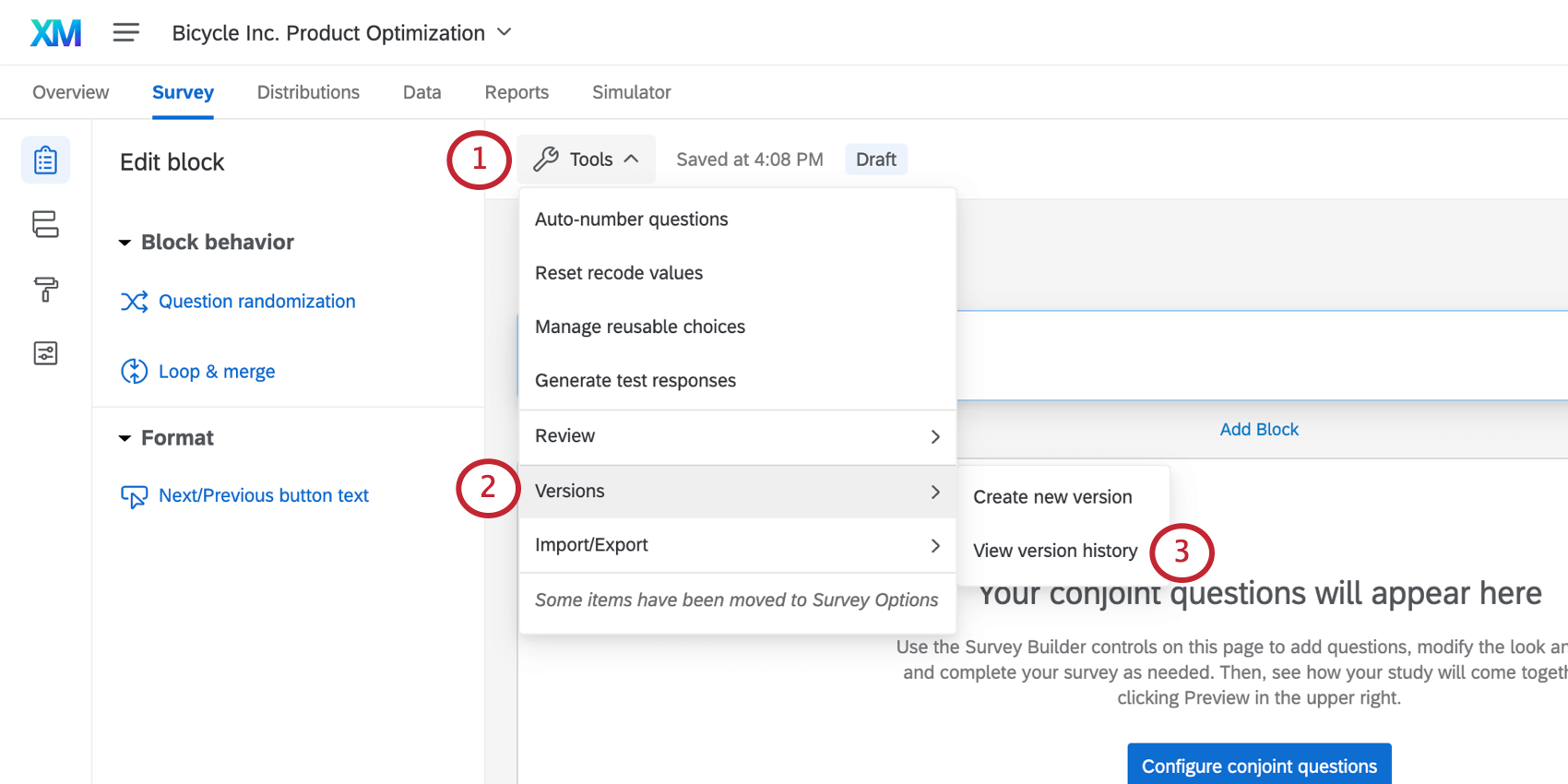 Selecting versions form the tools menu in the survey tab