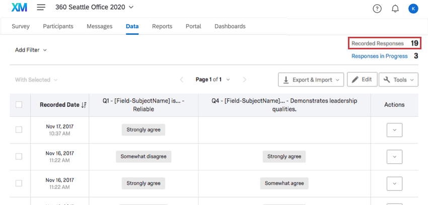 Recorded Responses option in the upper right corner of the Data tab