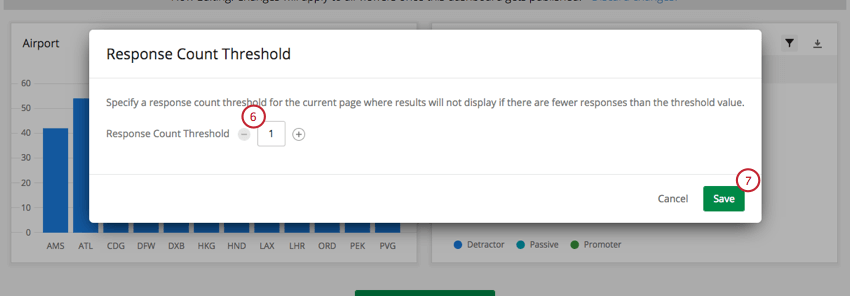 Response Count Threshold text box and Save button