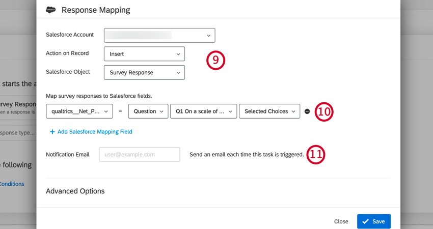 choosing the action, object, and mapping fields