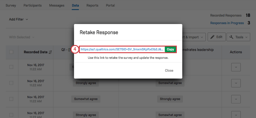 Copying the link in the Retake Response pop up window