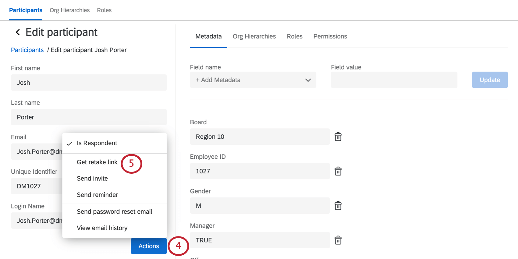 The Participation Information window is open with the Actions dropdown expanded