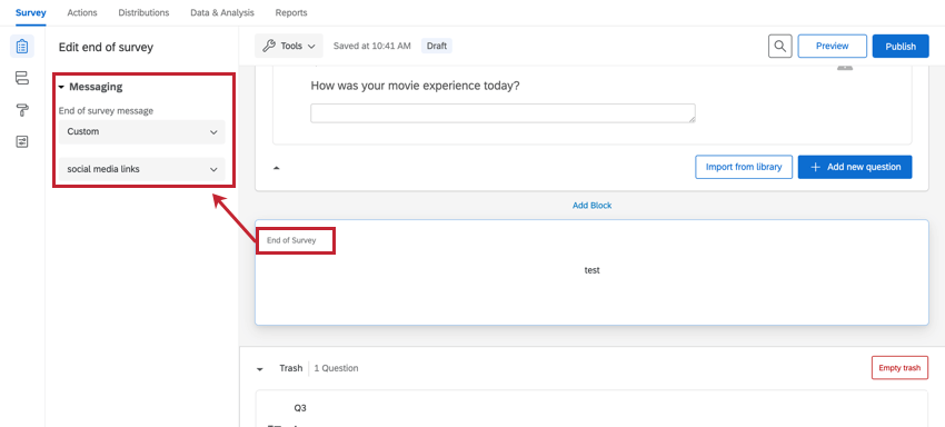 changing the end of survey message to the custom survey links message