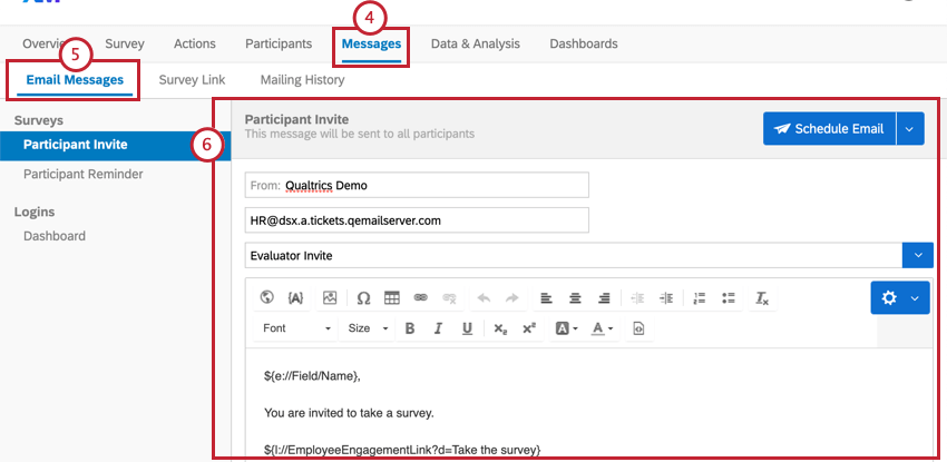 Email Messages section of Messages tab. We can see an example email is all set up, with survey links and a message