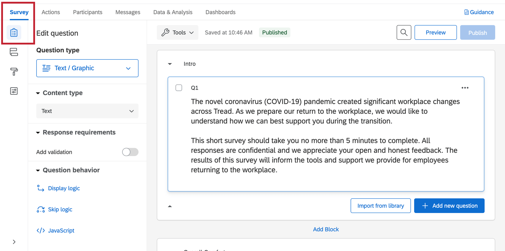 The survey builder of a COVID-19 project