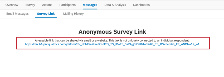 Survey link section of the messages tab