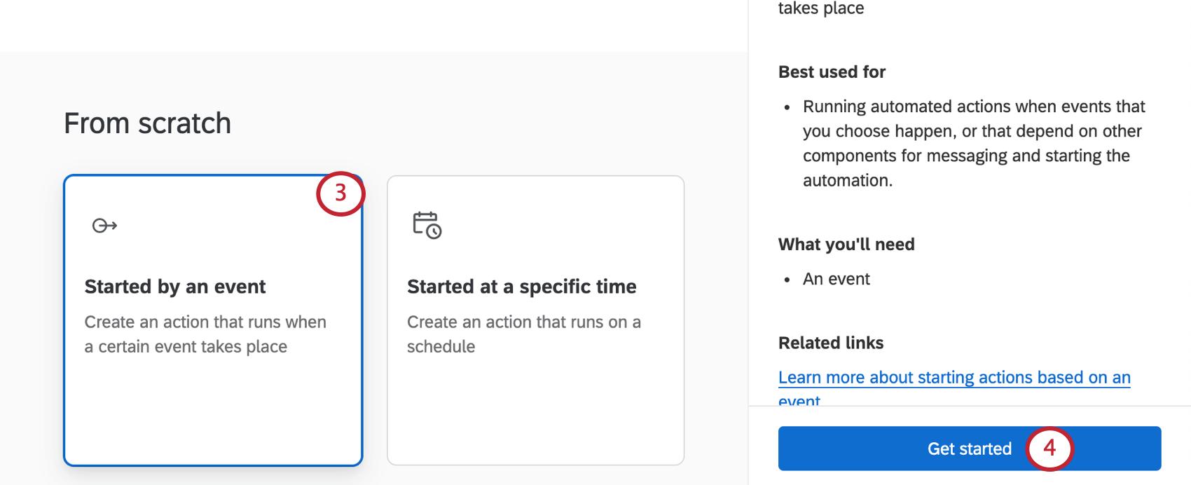 Screenshot of actions catalog